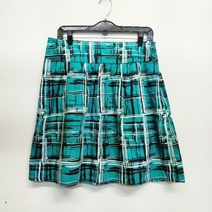 The Limited Graphic Plaid Black/Teal Skirt M NWT